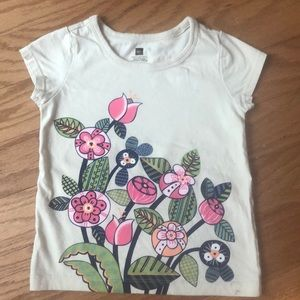 Tea T-shirt, oatmeal color with colorful flowers